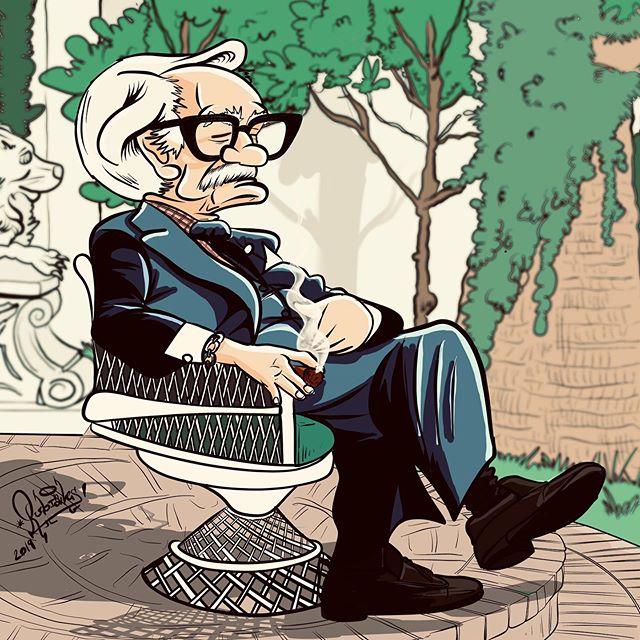 """Dai Vernon, """"El Profesor"""" Caricatura basada en la foto de Gary Plants que se tomó en 1980 en el jardín de Siegfried&Roy en Las Vegas (Nevada)."""
